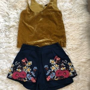 Anthropology embroidered shorts
